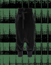 ZEALOUS: Black wrap front cuffed pants in velvet