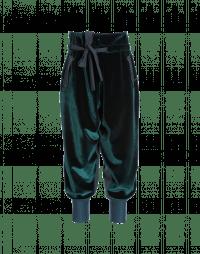 ZEALOUS: Green wrap front cuffed pants in velvet
