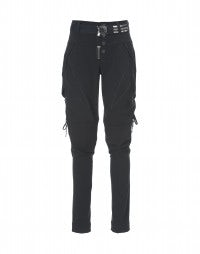 DYNAMO: Navy blue tie-side tapered leg pants