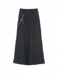 RAKU: Blue wide leg, cropped, pleated pants