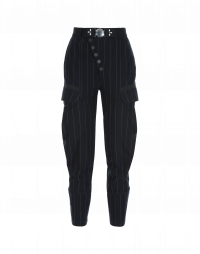 RIVALRY: Pinstriped diagonal snap front pants