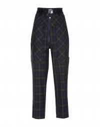 CLAMBER: Hi-waisted pants in check twill