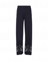 GRAVITATE: Navy flare pant with laser-cut hem