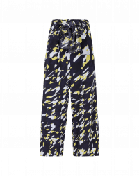PERPETUAL: Navy, yellow and white printed cropped pants
