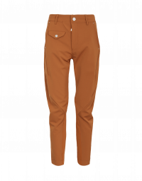 IN-MOTION: Pantaloni affusolati in twill tecnico marrone