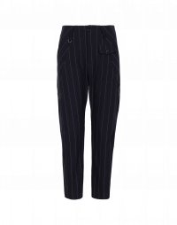 HYPER: Flat front pants in tech pinstripe with hip insert