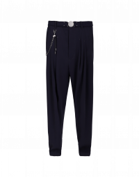 HASTEN: Pantalone fluido in twill tecnico blu