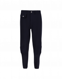 INITIALIZE: Navy flat front jersey pants without side seams