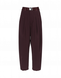 HASTEN: Burgundy pleated front pant in tech twill
