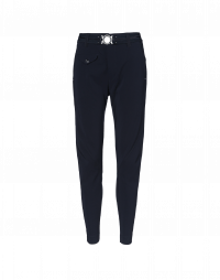 IN-MOTION:  Multi-seam tech-stretch jersey pants in navy