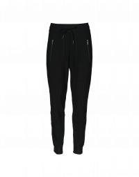 ENTRUST: Jogger pant in black pinstriped jersey