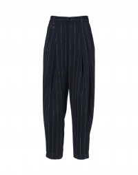 HASTEN: Pleated front pant in navy pinstripe tech satin