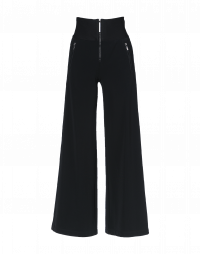 EQUITY: Wide leg flat front pant with rib waist