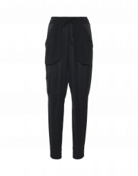 DAZE: Jogger pants in black technical satin and crêpe