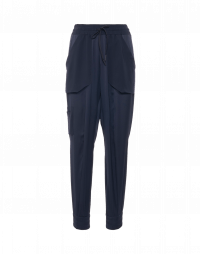 DAZE: Jogger pants in navy technical satin and crêpe