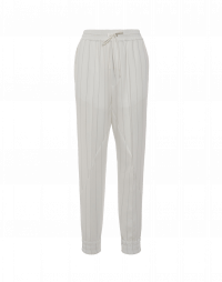 COHERE: Jogger pants in ivory pinstripe technical crêpe