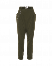 EXERT: Tapered pants in olive green tech stretch twill