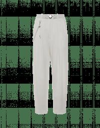 HASTEN: Pantaloni con pieghe in raso tecnico bianco