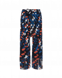 DECOY: Wide leg pants in cubic printed jersey with tie belt