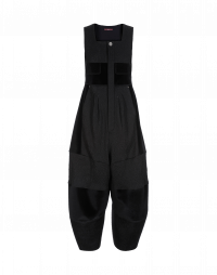 MECHANIC: Pleated salopettes in black cloqué, velvet and eco-fur