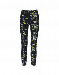 SPEEDY: Floral leggings with green stripe