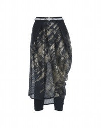 CAROUSEL: Dark blue metal print perforated tech jersey skirt