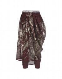 CAROUSEL: Burgundy metal print perforated tech jersey skirt