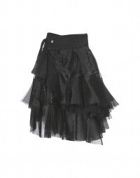 TANGO: Black tulle and sequin layered wrap skirt
