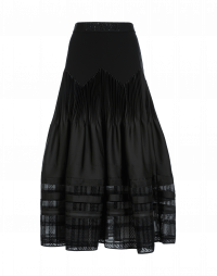 TRANSCEND: Black skirt with pleats and sheer hem