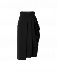 DELIGHTED: Black jersey and tulle asymmetric skirt