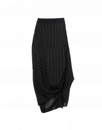 ENLIVEN: Multi-directional drape black pinstripe skirt
