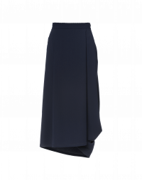 UNDULATE: Navy folded and draped skirt