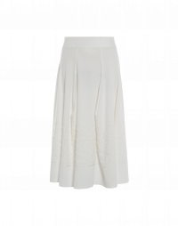 FLOUNCE: Full skirt in technical stretch jersey with embroidered hem