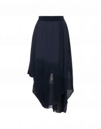 OUTSET: Navy tech satin and georgette draped skirt