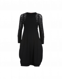 SUCCEED: Black jersey dress with mesh sleeves