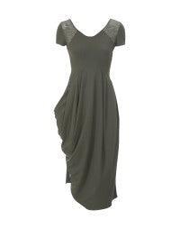 VOLTA: Khaki Sensitive® lace inset tulip dress