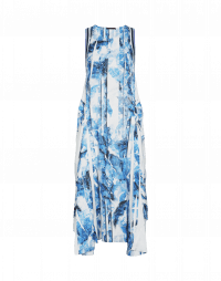 SELF-CENTRED: Pale blue pleat and print dress with draped back