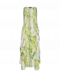 SELF-CENTRED: Pale green pleat and print dress with draped back