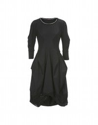 QUADRILLE: Satin and herringbone stripe jersey dress