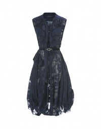 HOEDOWN: Navy sleeveless ruffle neck dress