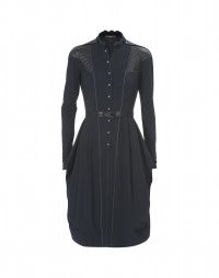 CHATALAINE: Navy Sensitive® quilted shirt dress