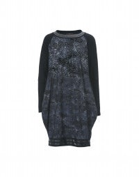 FRIEND: Blue floral print and paint splash sweater dress
