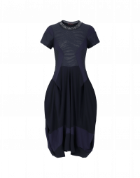PRAISE: Abito blu navy con pannelli multipli e pattern a rilievo