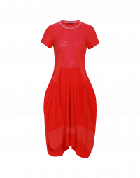 PRAISE: Red dress in smooth and textured jersey