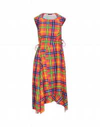 EMERGE: Multi-panel dress in bright check jersey