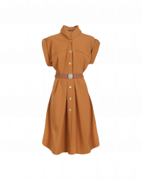 UNTOLD: Tan tech twill short sleeve dress