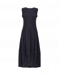 MESMERIZE: Pinstripe dress with hole-punched patterns