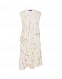 FLUENTLY: Floral and lurex ruffle neck dress
