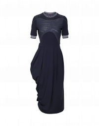 CHOREOGRAPH: Plain and textured jersey wrap dress