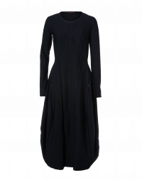 SOLITARY: Long, multi-panel pinstripe dress
